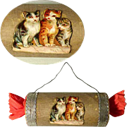 Delightful  Candy Container Christmas Bonbon Kitten Dresden Cardboard
