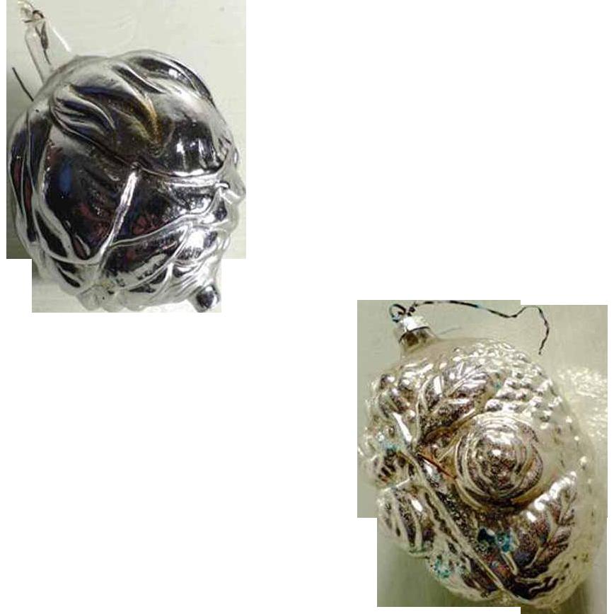 Beautiful Christmas Ornament Pair Rosebud Roses Mercury