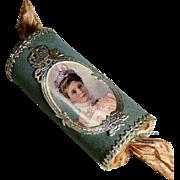Delightful  Candy Container Christmas Bonbon Tsarina Alexandra of Russia Dresden Cardboard