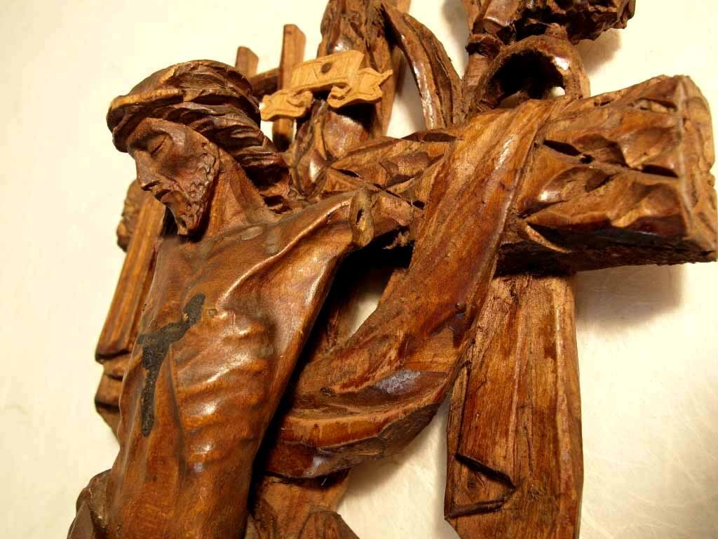 19th Century Crucifix Passion Instruments German Folk Art Carving