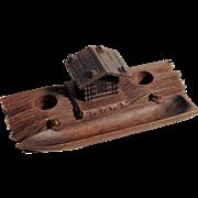 Hand Carved Desk Set Cottage on River Shore Black Forest – Rare Shape