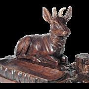 Desk Set Hand Carved Stag Antler Black Forest