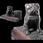 Hand Carved Desk Set Dog Boxer