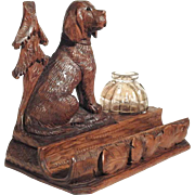Hand Carved Desk Set Sitting Chase Dog Black Forest