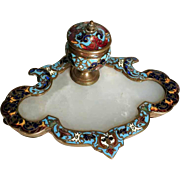 19C French Inkwell Champleve Enamel Work and Marble