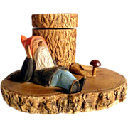 Hand Carved Ink Well Lazy Gnome German Folk Art ca. 1930