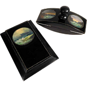 Early Victorian Note Book and Blotter Hand Painted Miniatures Sea Motifs