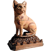 Fantastic Hand Carved Tabby Cat Ink Well Black Forest