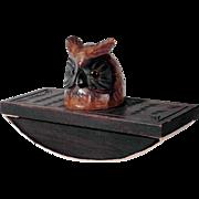 Treen Blotter Owl Hand Carved Black Forest