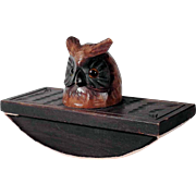 Treen Blotter Owl Hand Carved Black Forest