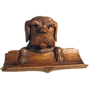 Amazing Hand Carved Figural Ink Well Dog Head ca. 1900