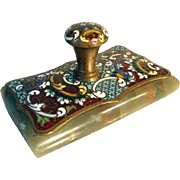 French Paperweight Enamel Work Champleve Bronze Marble ca. 1870