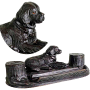 Fabulous  Hand Carved Inkwell Reclining Setter Black Forest ca. 1880