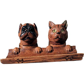Adorable Desk Set Two Friends Dog and Cat Black Forest