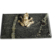 Old Paperweight Marble and Bronze Frog