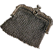 19th Century Lovely French Silver Mesh Doll Purse