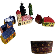 German Miniature Handcrafted Doll Village Houses Trees Church in Gift Box