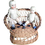 Lovely Pair of German Bisque Porcelain Dolls w. Sofa