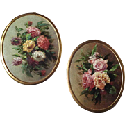 Pair of Miniature Oil Paintings Still Life for Doll House