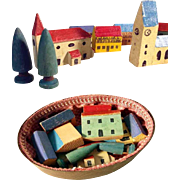 German Miniature Wooden Doll Village Houses Trees Church in Chip Box