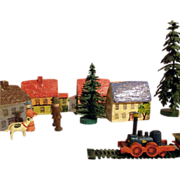 Miniature Wooden Doll Village Houses Trees Train Persons ca. 1900/20