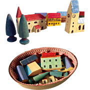 German Miniature Wooden Doll Village Putz Houses Trees Church in Chip Box