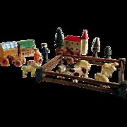 Miniature Doll Village with Paddock Sheep Horse Cow Dog German Wooden Toys Folk Art