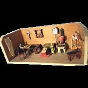 German Miniature Kitchen Room Box Hand Carved and Made Dolls Erzgebirge