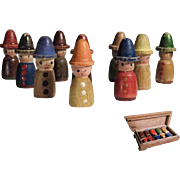 Interesting Miniature Bowling Pins for a Doll House Set of Ten