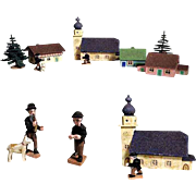 Lovely Wooden Doll Village  Church Tavern Men