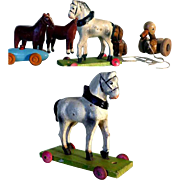 Horses, Duck, Dog and Car Miniatures for Dollhouse or Village
