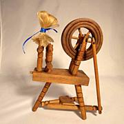 Treen  Spinning Wheel with Movement for Doll Cabinet ca. 1920