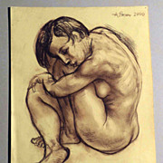 Woman Nude – Pencil Drawing by Alexander Repka Russian Artist Listed