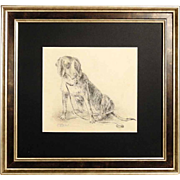 19C Excellent Drawing of a Dog Chase Hound Signed Deiker Listed Artist