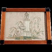 19th Century Fine Memento Silk Embroidery