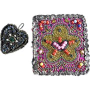 Two Beautiful German Costume Embroideries Beadwork ca. 1920