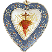 Religious Embroidery Heart Shape ca. 1920