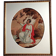 19th Century Rare Embroidery depicting Virgin Mary's Father Saint Joachim