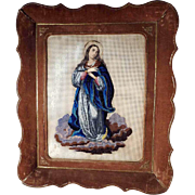 Beadwork Praying Virgin 1. Half of the 19th Century