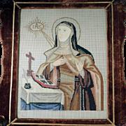 Antique Needlework Saint Teresa of Avila  1. Half of the 19th Century