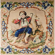 19th Century Embroidery Young Shepherd and his Dog