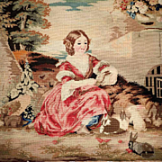 Rare 19th Century Embroidery Young Girl Rabbits