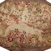 Rare 19th Century Embroidery Cupid Lovers Amazing