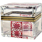 Delightful Engraved Bohemia Crystal Box Clear Glass Ruby Motifs ca.1920