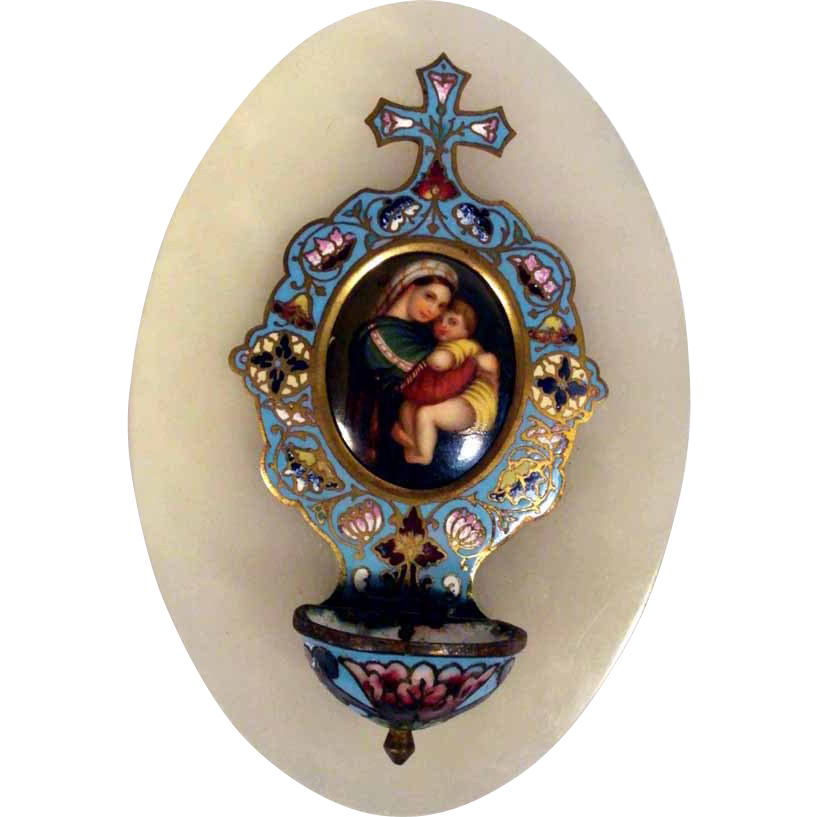 19C Holy Water Font Champleve and Miniature Porcelain Painting Chair Virgin
