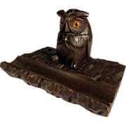 Hand Carved Desk Set Fat Owl Black Forest about 1920