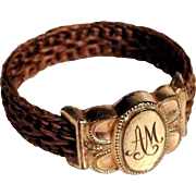Antique Woven Hair Mourning Ring ca. 1860