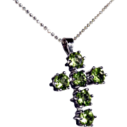 Delicate Peridot Cross with Silver Mount and Silver Chain