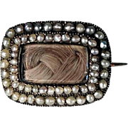 Victorian Charming Mournig Brooch Plaited Hair Sead Pearls