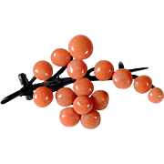 Delicate Art deco Brooch Coral Flower Brunch